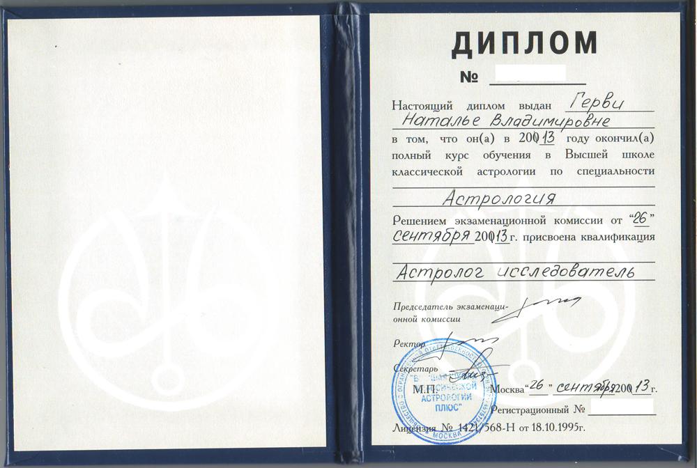 Диплом Астролога Натальи Герви
